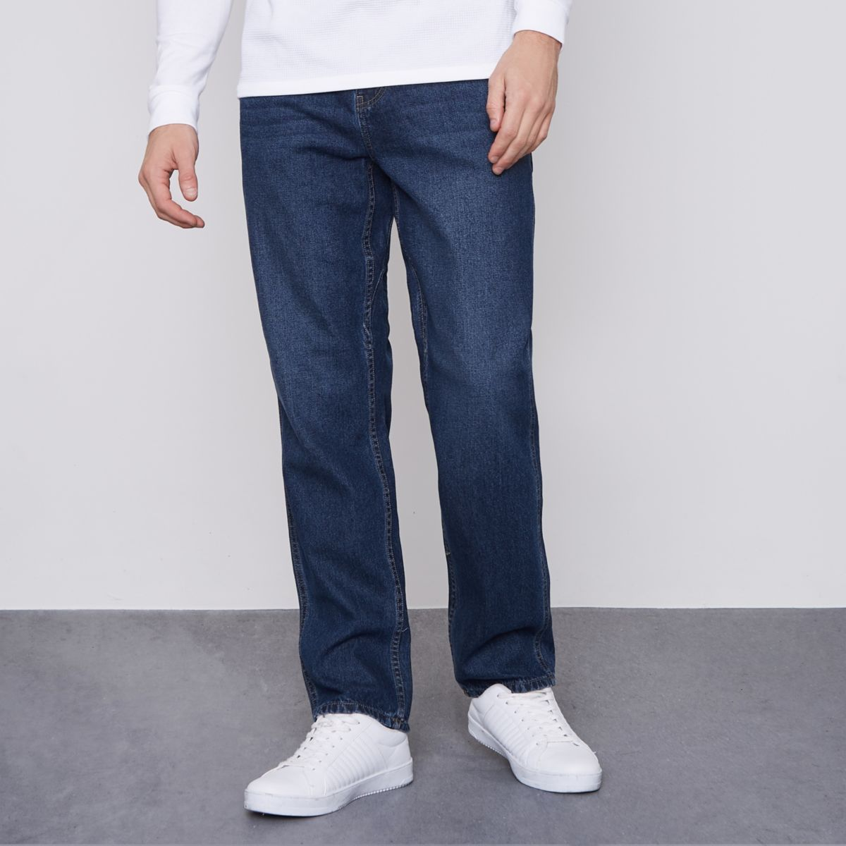 Monkee Genes Blaue Worker-Jeans in Loose Fit