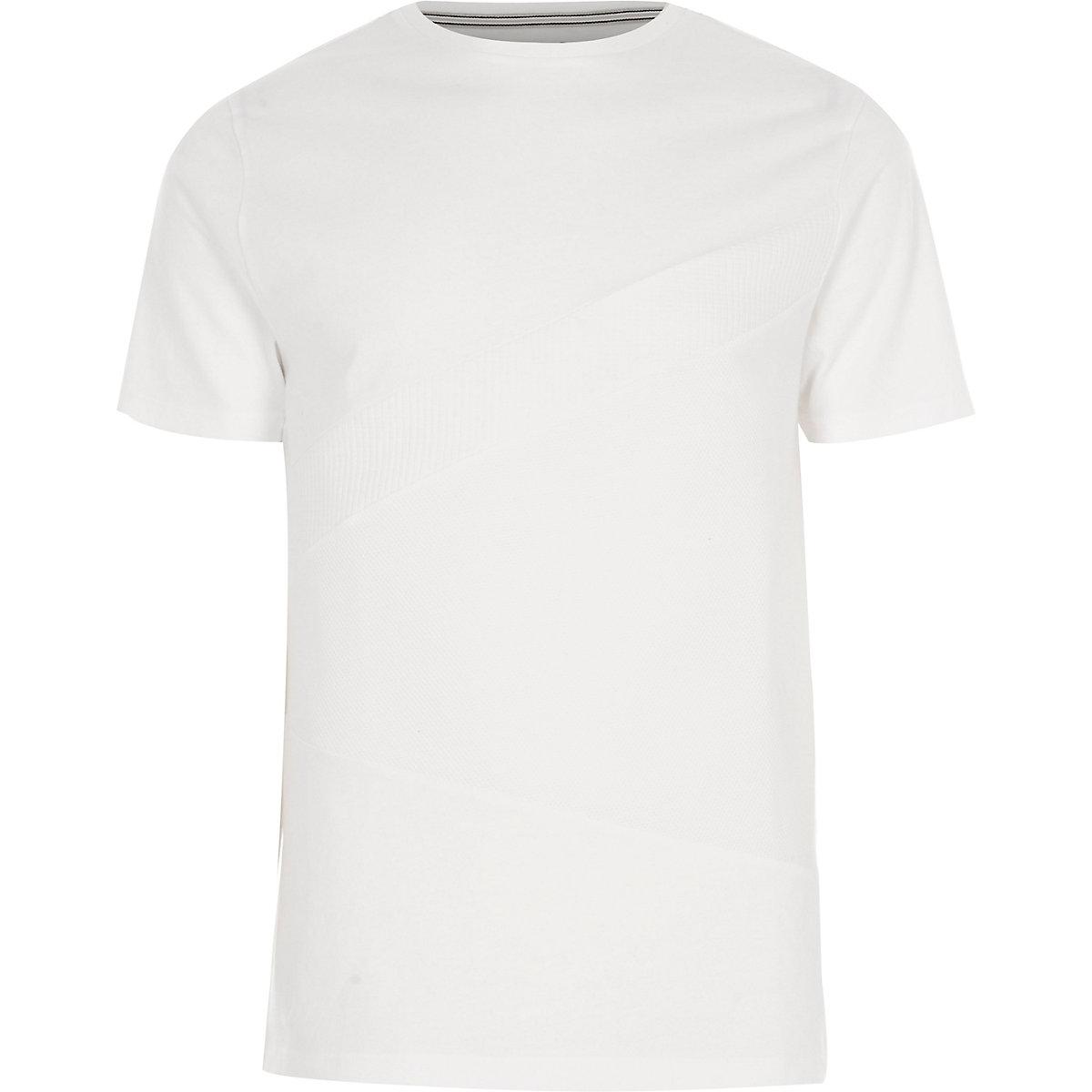 White block waffle panel slim fit T-shirt