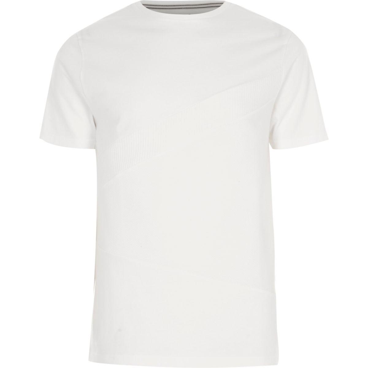 White block waffle panel slim fit T-shirt