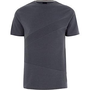 Dunkelgraues Slim Fit T-Shirt mit Waffle-Struktur