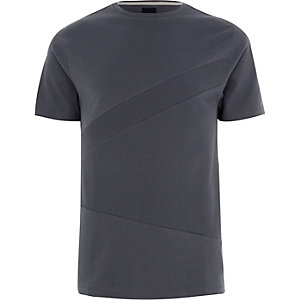 Donkergrijs slim-fit T-shirt met kleurvlakken en wafeldessin
