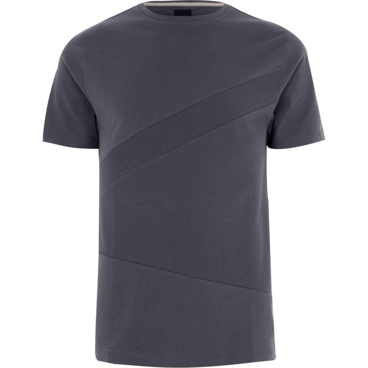 Dark grey block waffle panel slim fit T-shirt