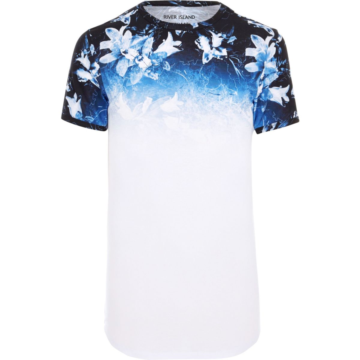 Big and Tall white floral fade print T-shirt