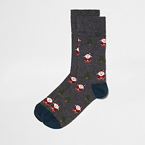 Grey Santa Christmas socks