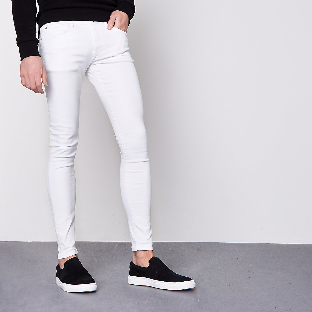 Ollie - Witte superskinny spray on jeans