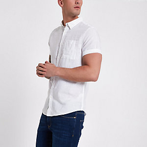Wit linnen overhemd met korte mouwen