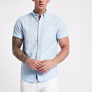 Blauw linnen overhemd met korte mouwen