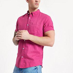 Chemise en lin rose à manches courtes