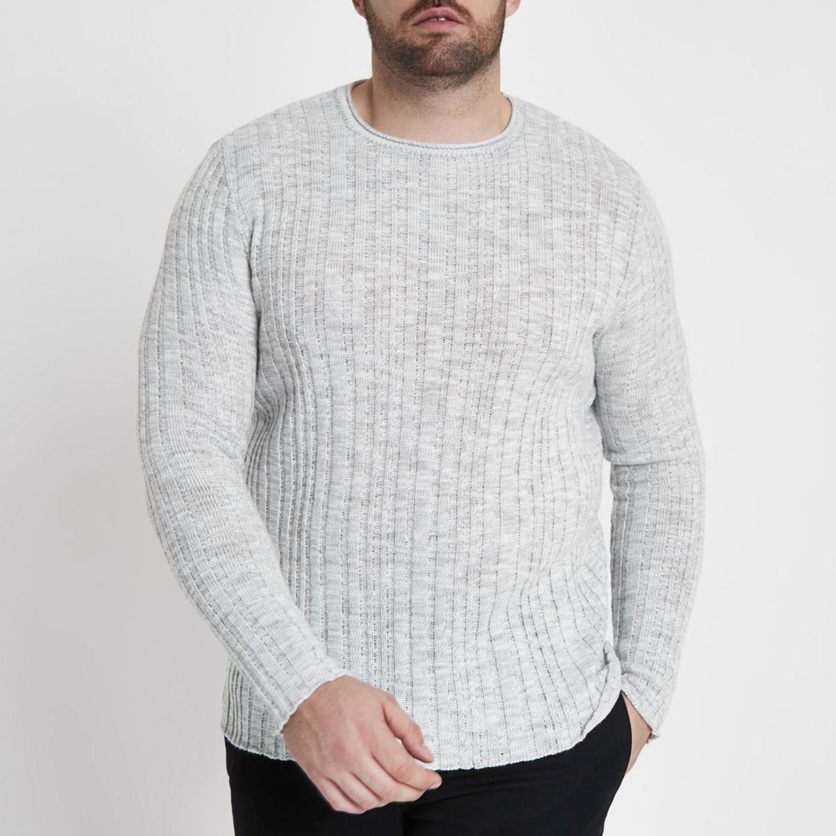 Big and Tall cream rib knit crew neck sweater