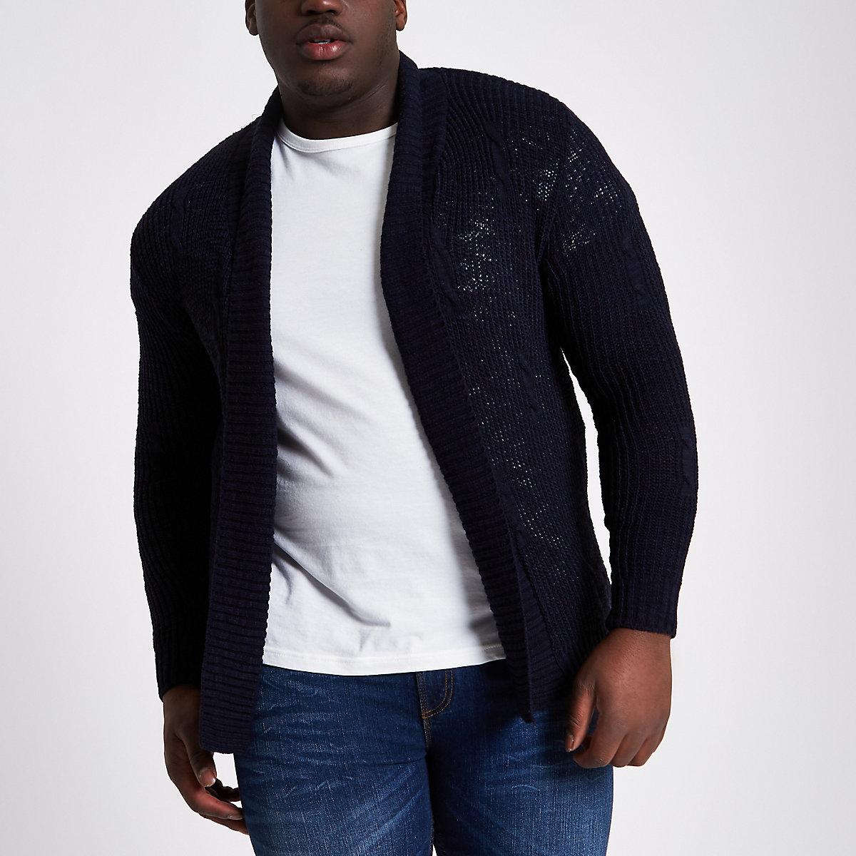 Big and Tall navy knit cardigan