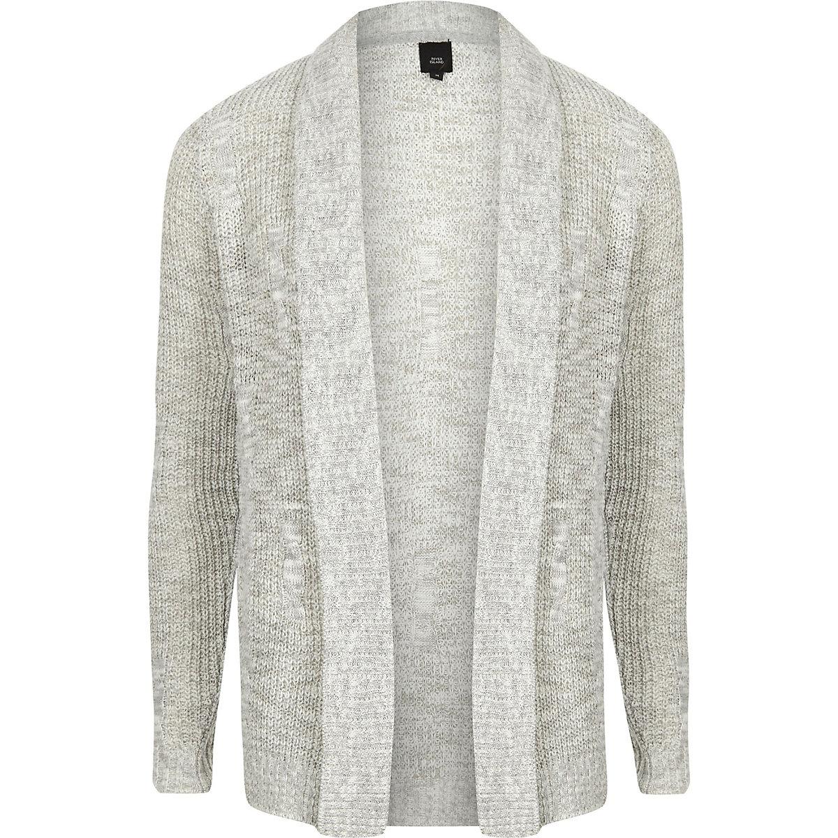 Big and Tall grey knit cardigan