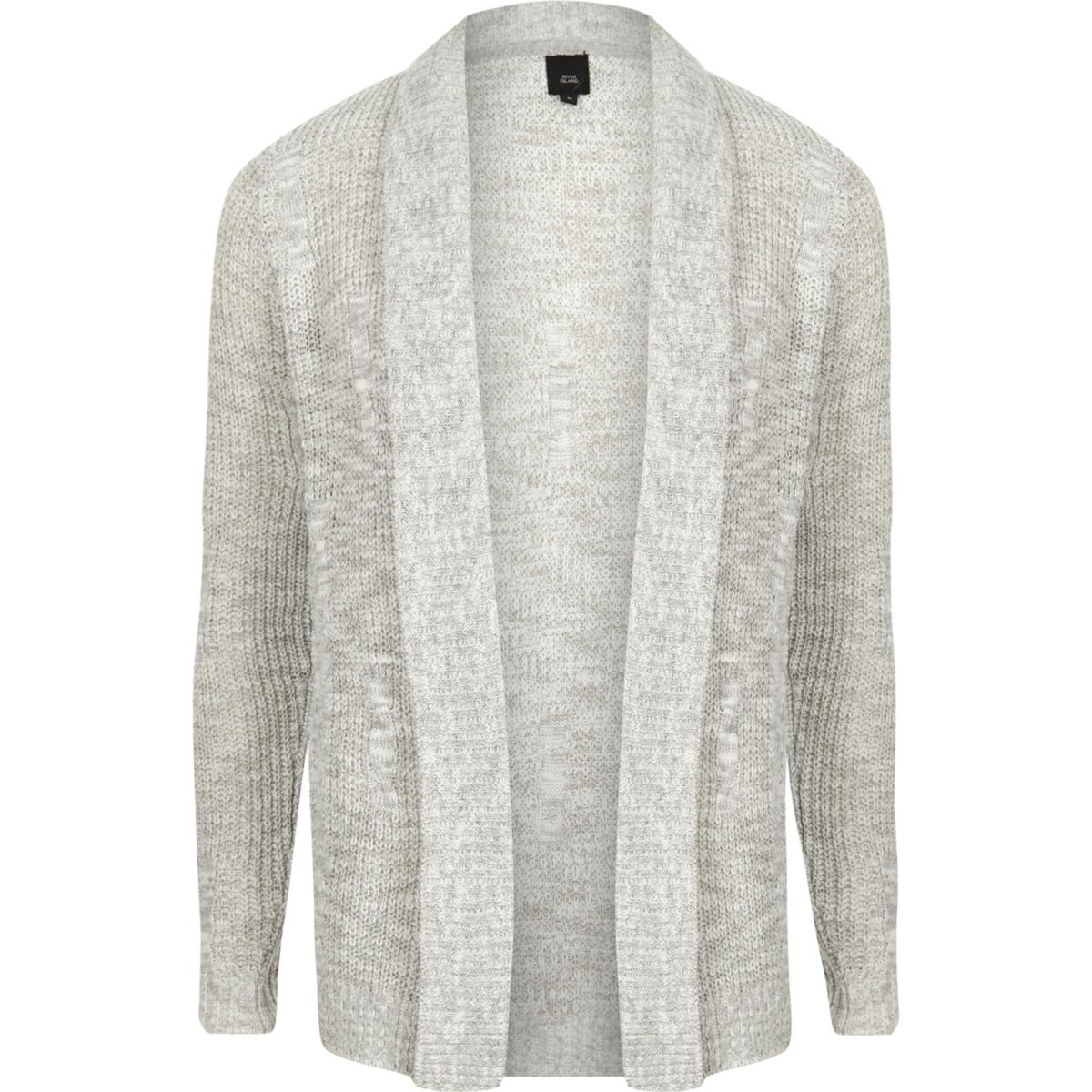 Big and Tall grey knit cardigan - Cardigans - Jumpers & Cardigans ...