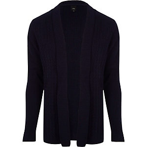 Navy cable knit panel open front cardigan