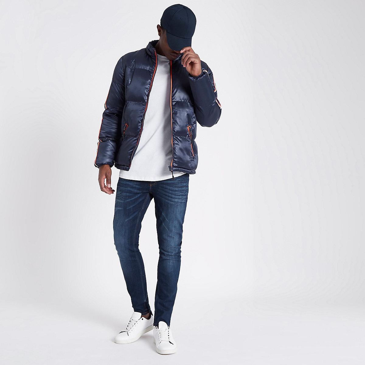 Bellfield navy contrast trim puffer jacket