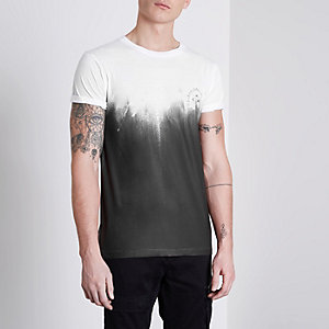 White fade print slim fit T-shirt