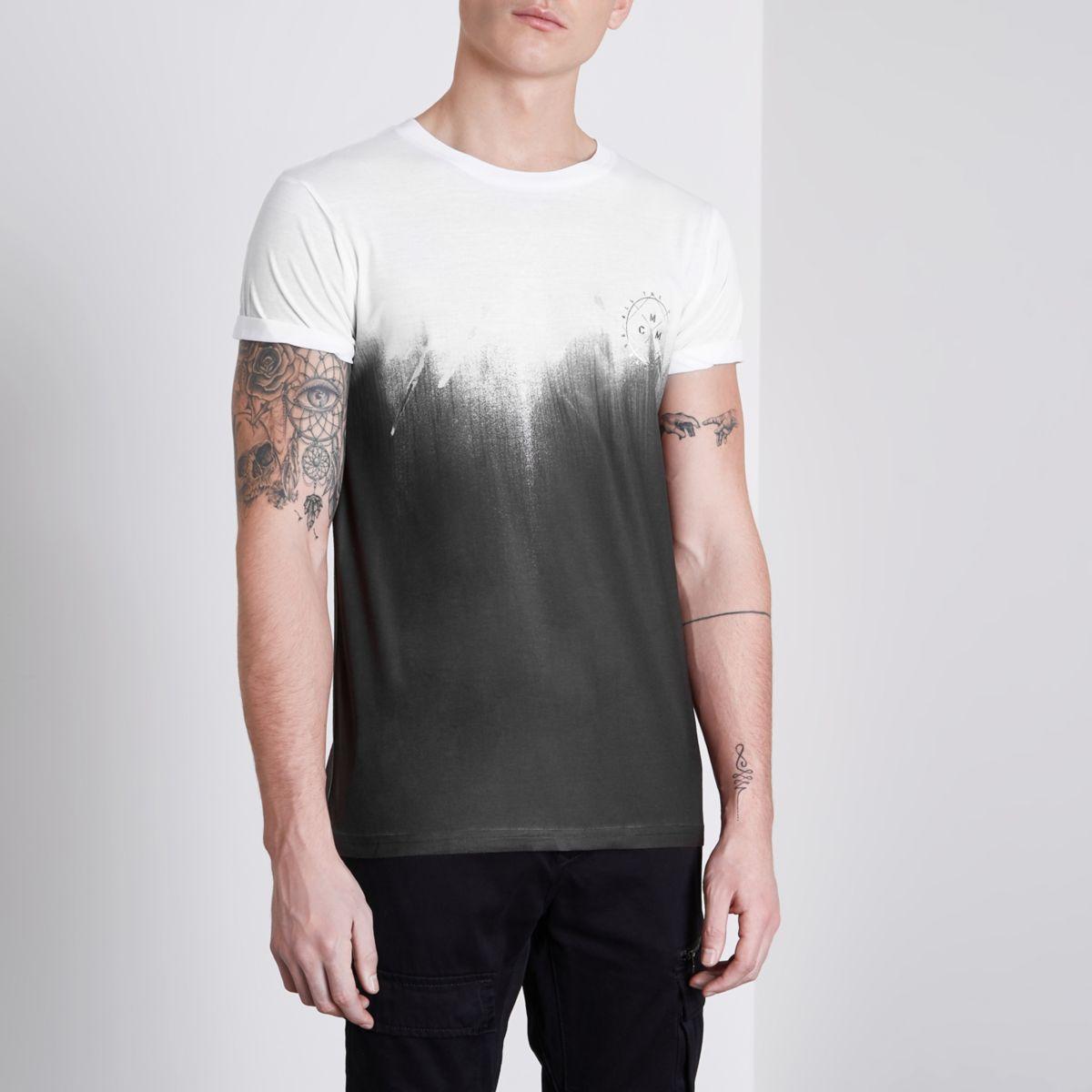 White fade print slim fit T-shirt