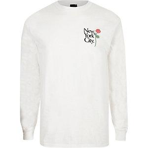 T-shirt slim imprimé roses blanc à manches longues