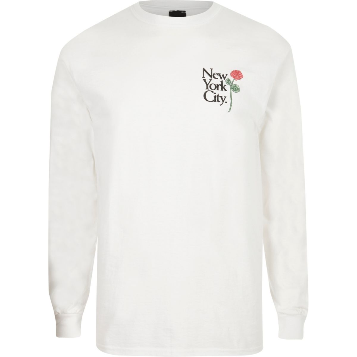 White rose print slim fit long sleeve T-shirt