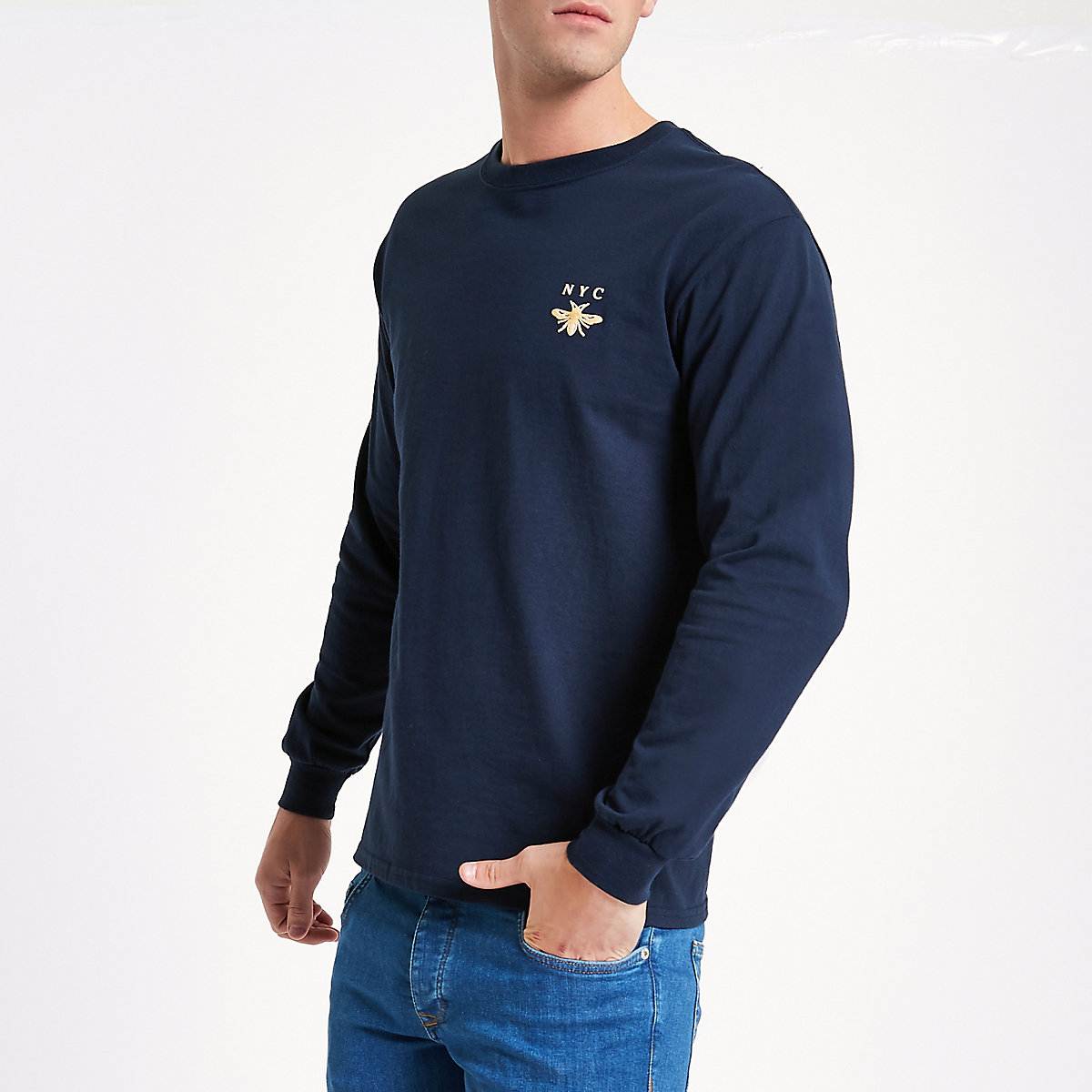 Navy wasp slim fit long sleeve T-shirt