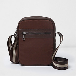 Brown geo print cross body flight bag