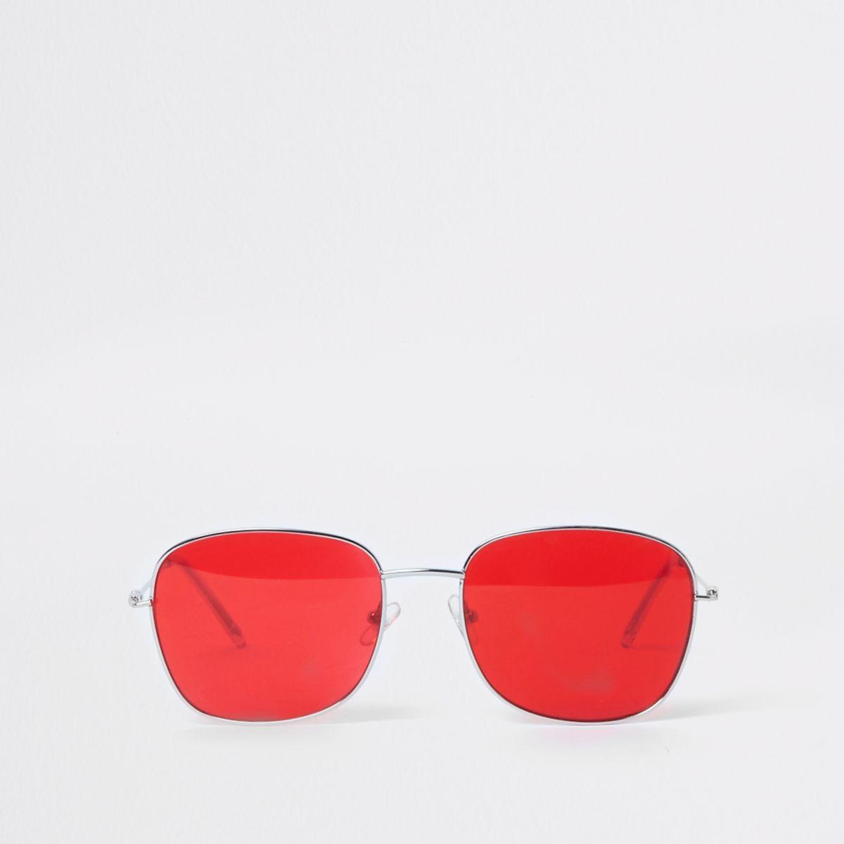 Silver tone square red lens sunglasses