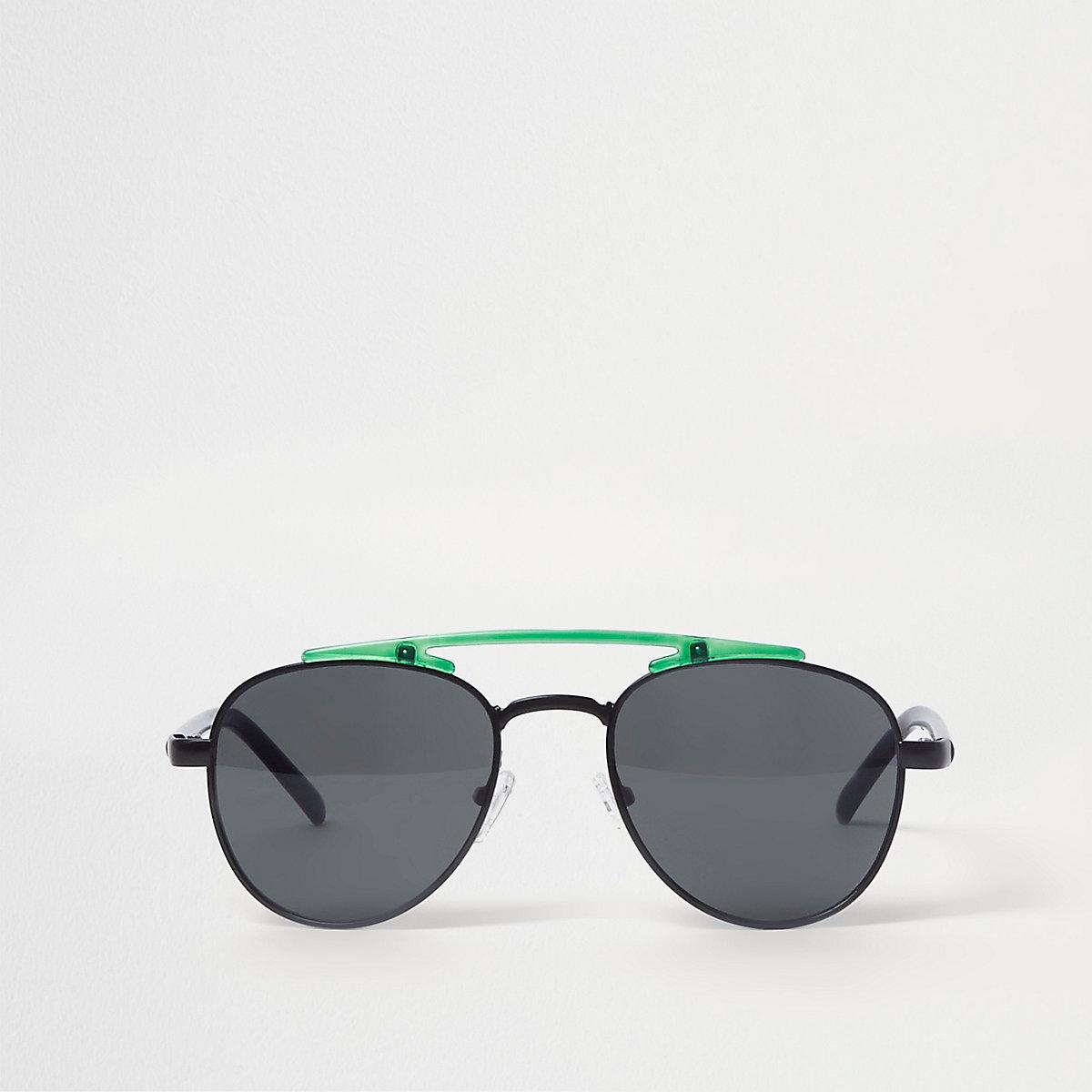Black lens green brow bar aviator sunglasses