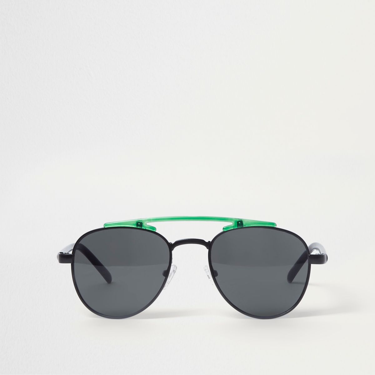 Black lens green brow bar aviator sunglasses