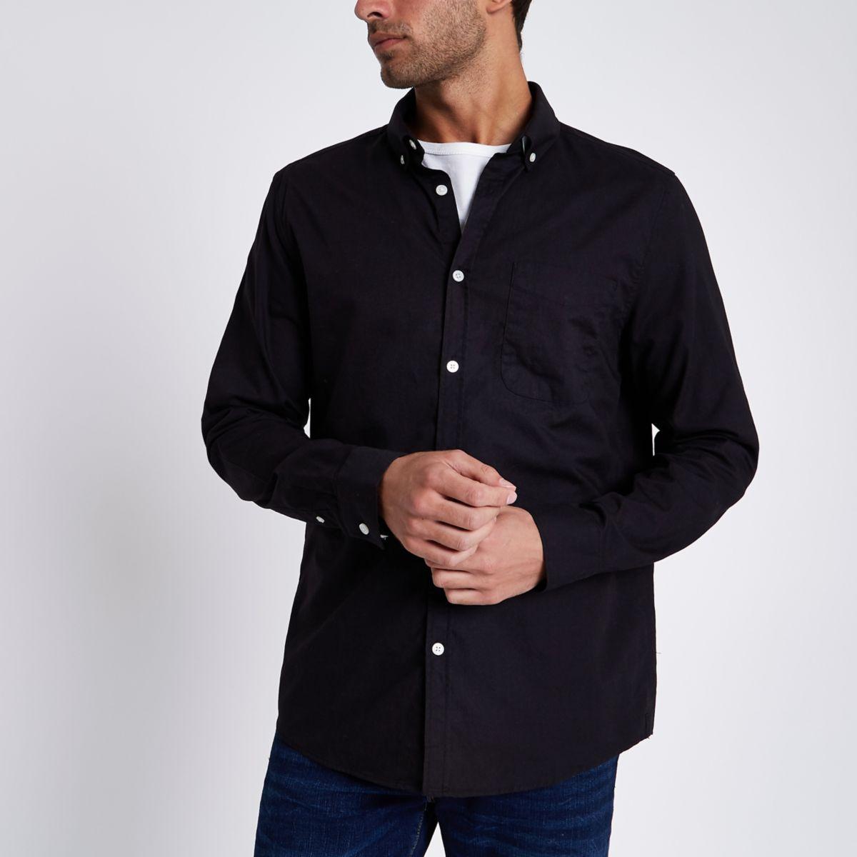 Schwarzes langärmeliges Oxford-Hemd