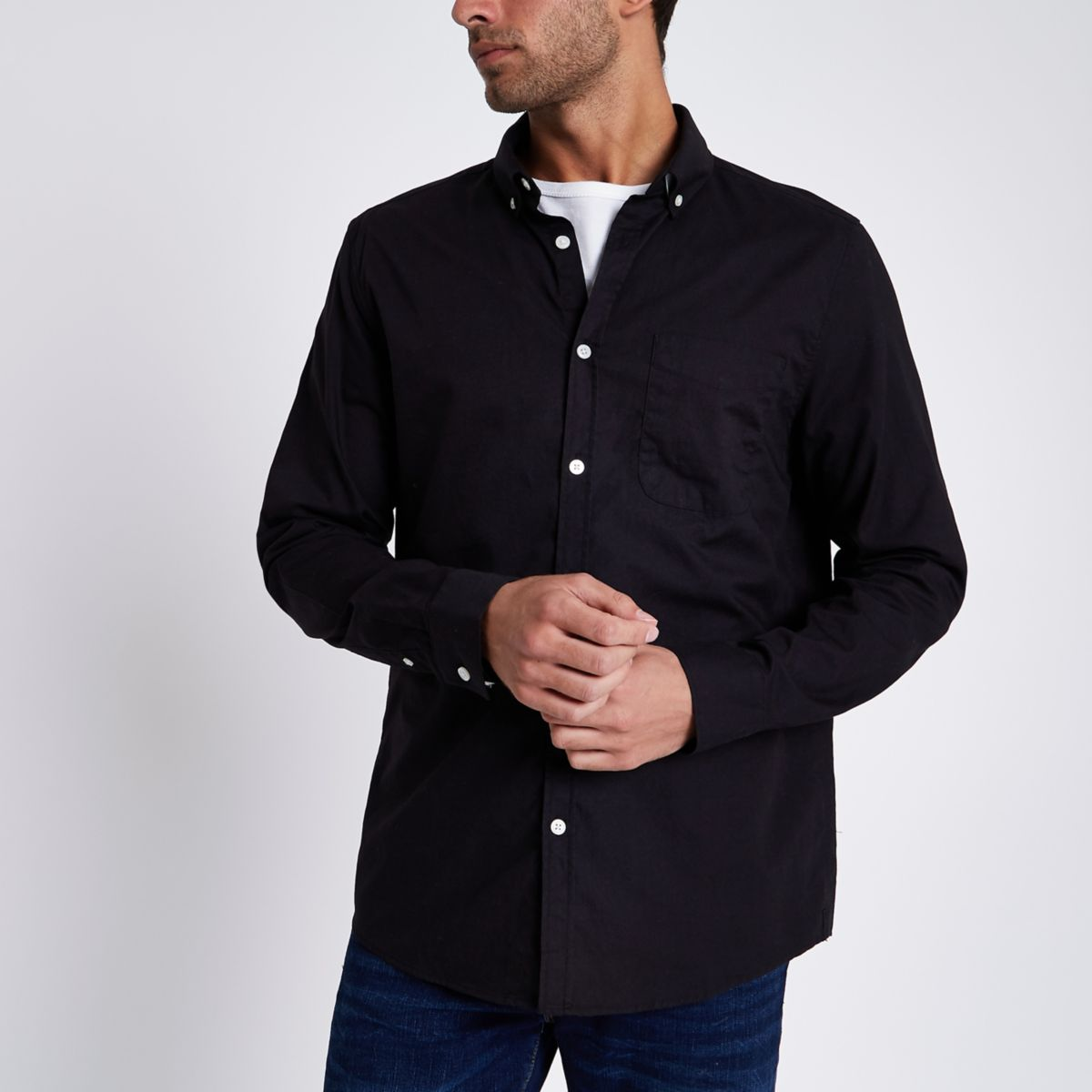 Zwart Oxford overhemd met knopen en lange mouwen
