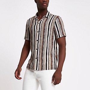 Cream aztec print revere collar shirt