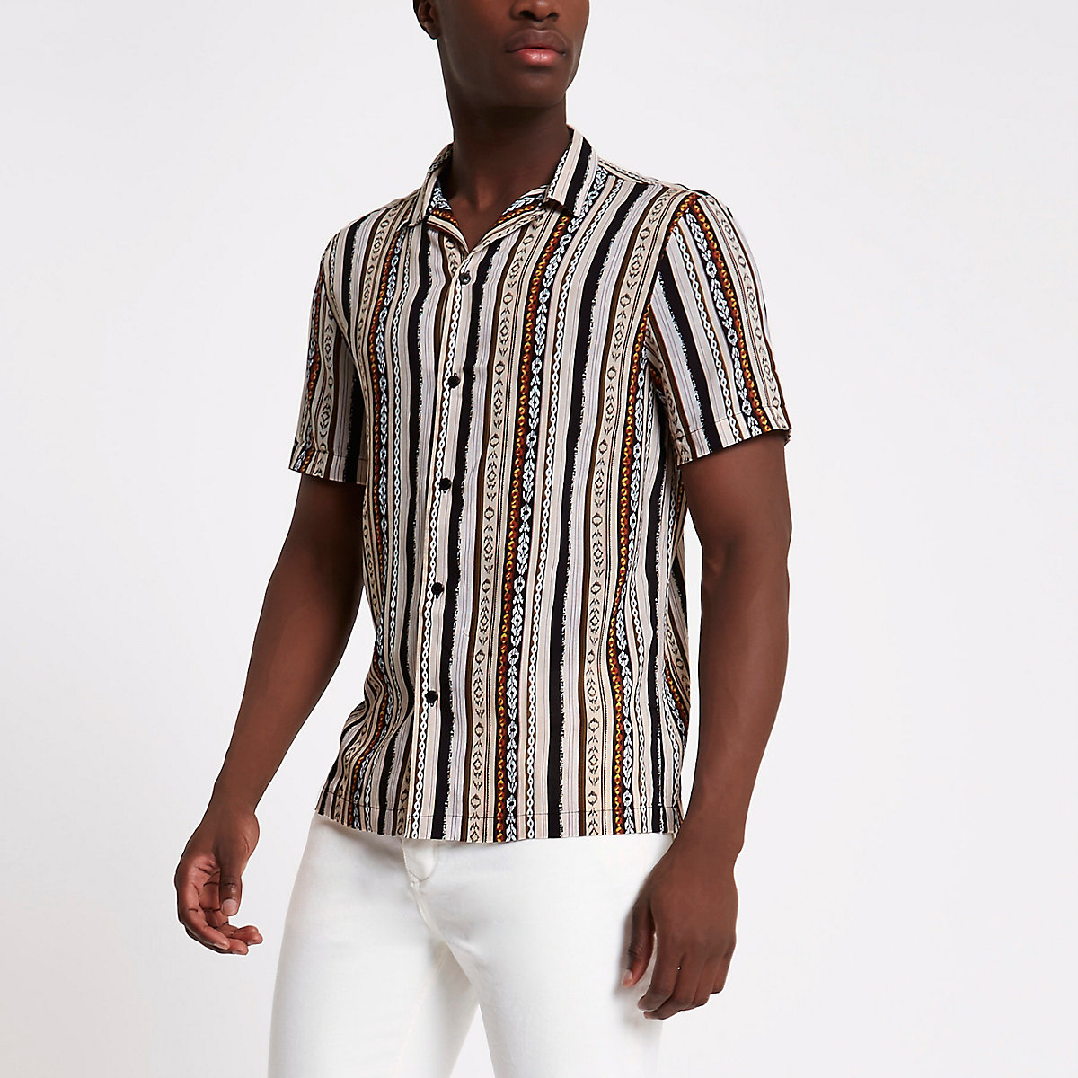 Cream aztec print revere collar shirt