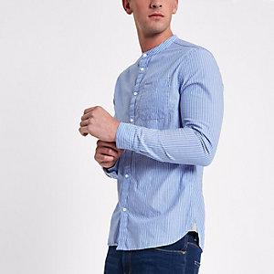 Blauw gestreept slim-fit overhemd zonder kraag