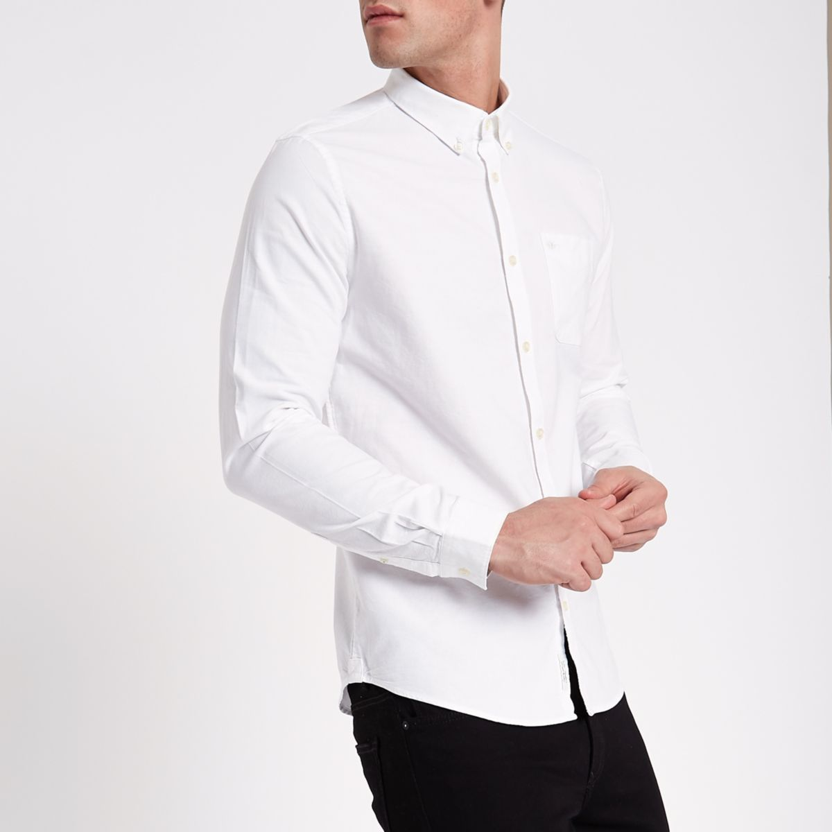 White wasp embroidered pocket Oxford shirt