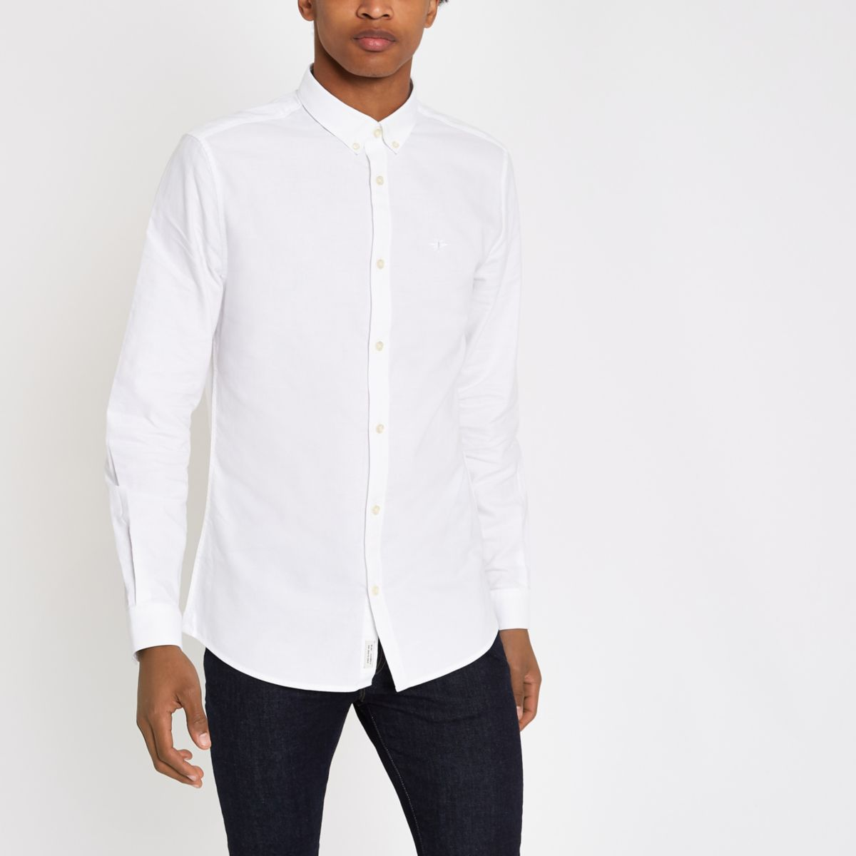 White chest embroidered Oxford shirt