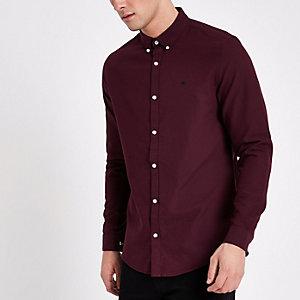 Bordeauxrood Oxford overhemd met borduursel op de borst