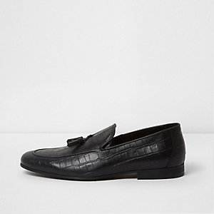 Black croc embossed leather loafers