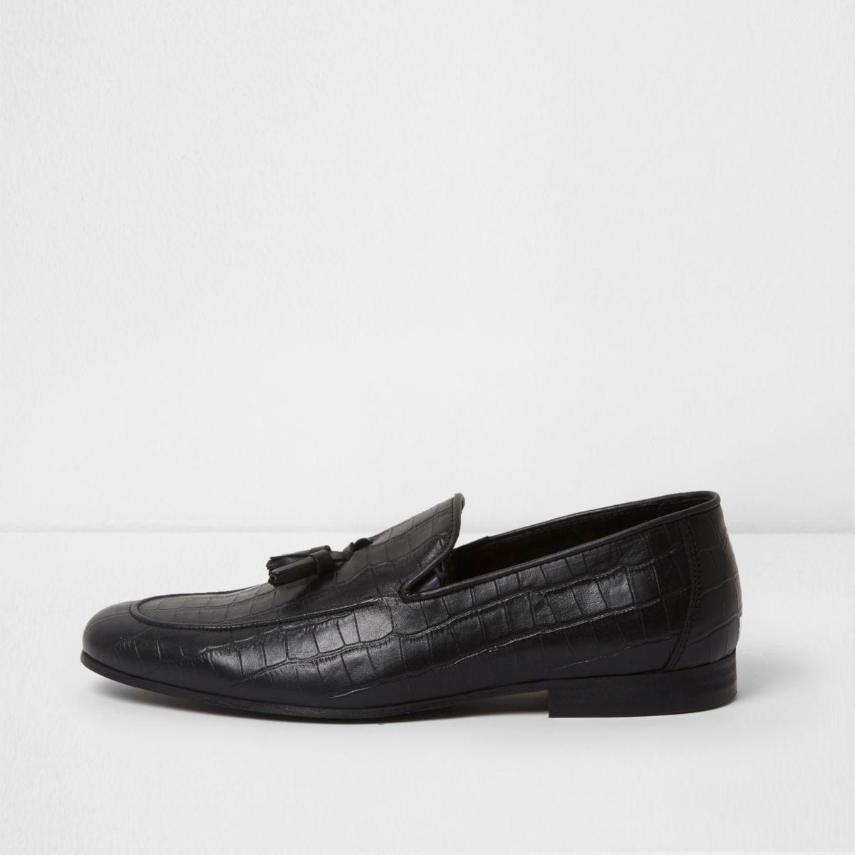 Zwarte leren loafers met krokodillenprint en reliëf