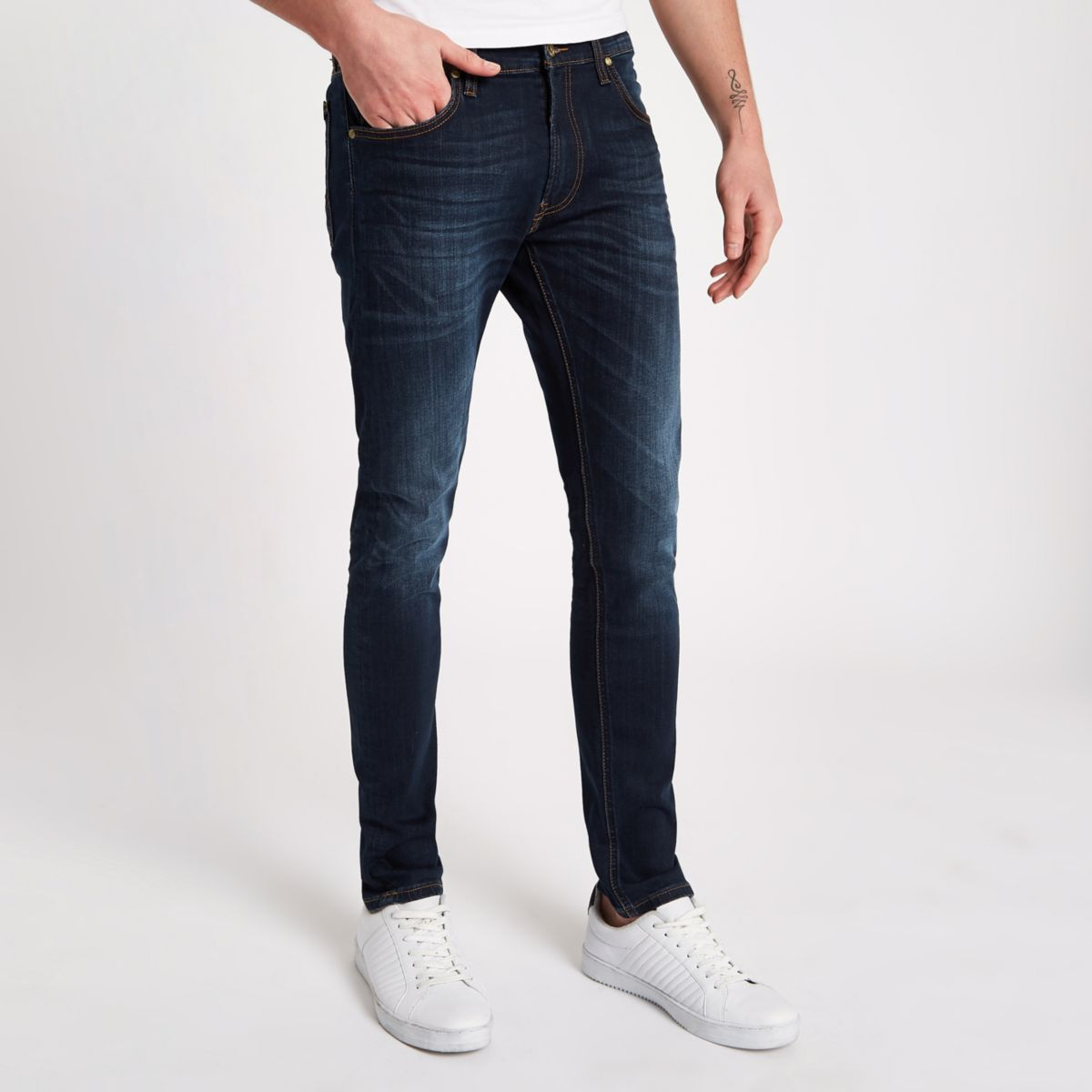 Lee - Luke - Blauwe smaltoelopende slim-fit jeans