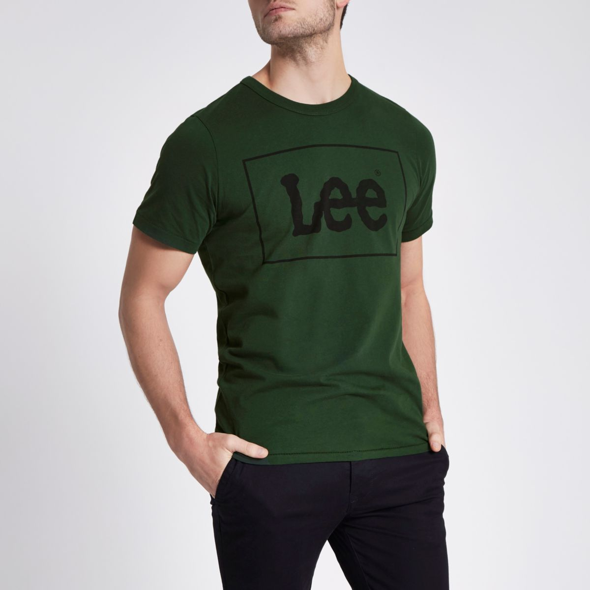 Dark green Lee logo print crew neck T-shirt