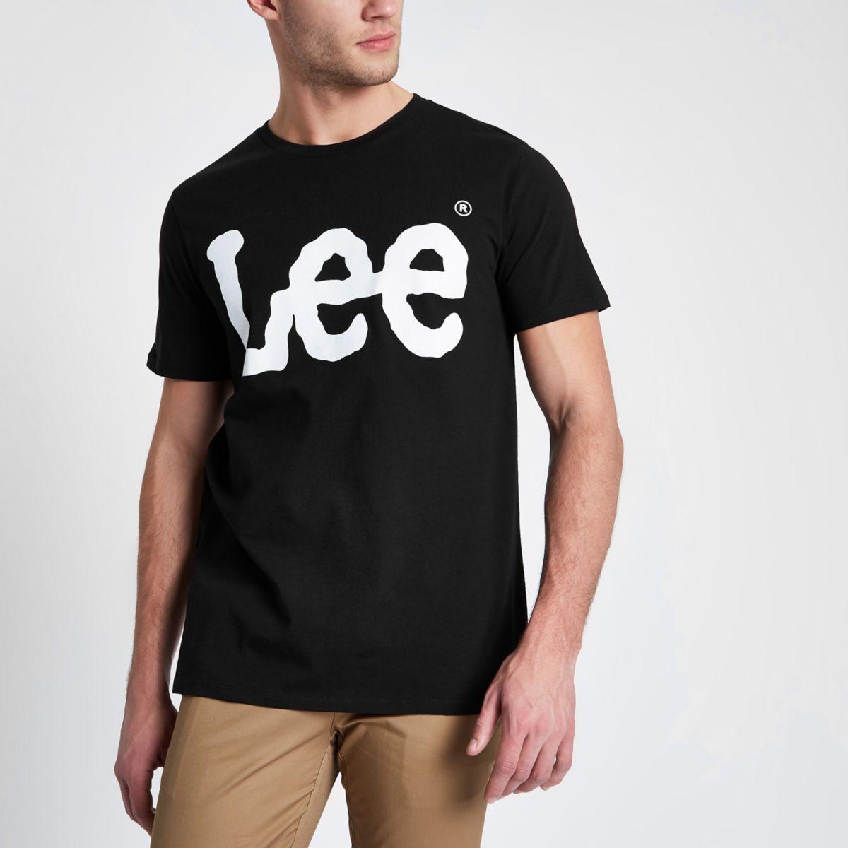 Schwarzes T-Shirt mit Rundhalsausschnitt und Logoprint