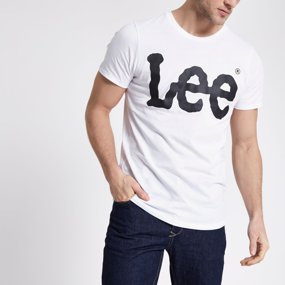 Lee white logo print crew neck T-shirt