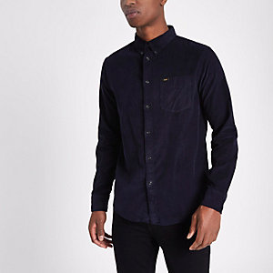 Navy Lee cord button-down Oxford shirt