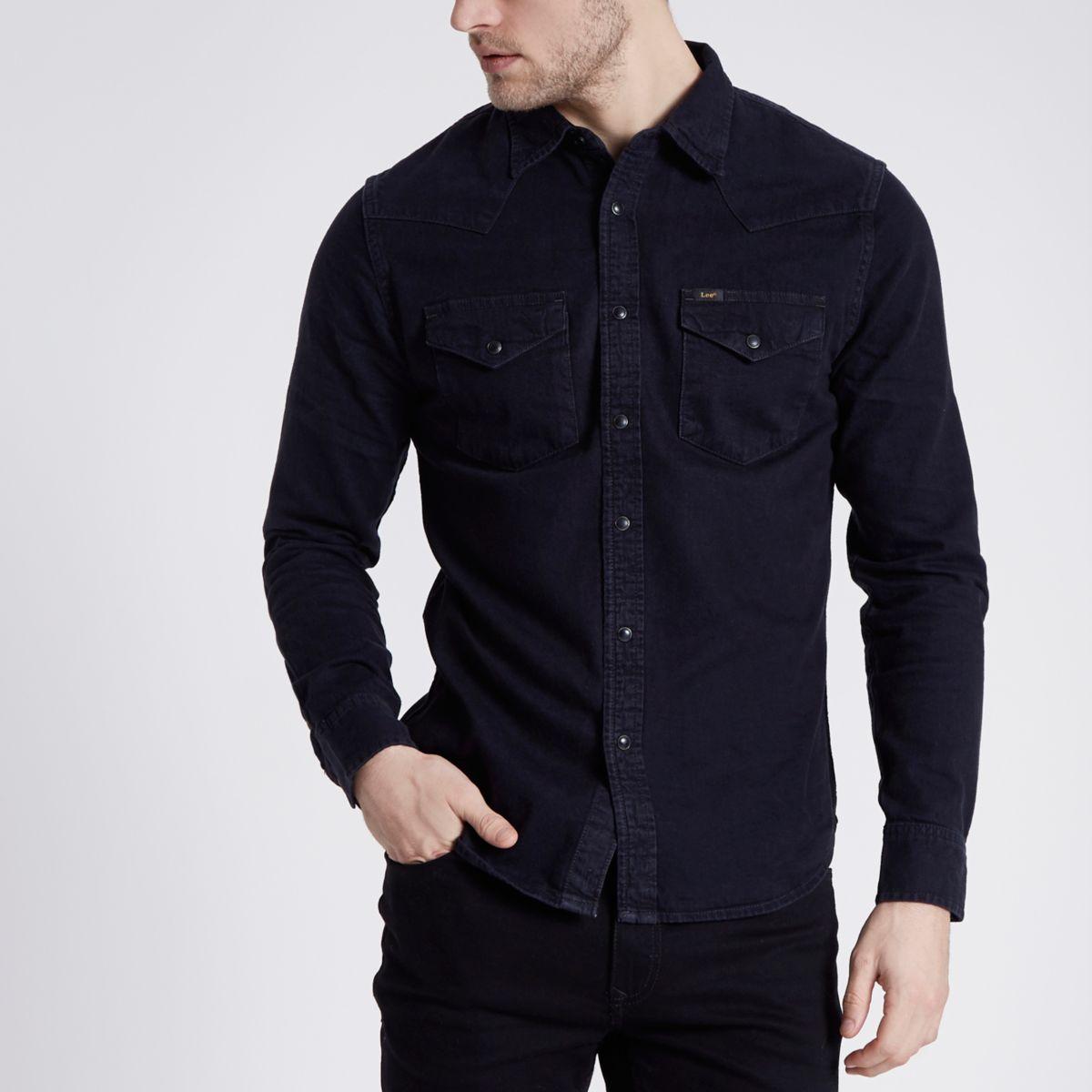 Lee - Zwart slim-fit denim western overhemd