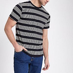 Black Lee stripe print crew neck T-shirt