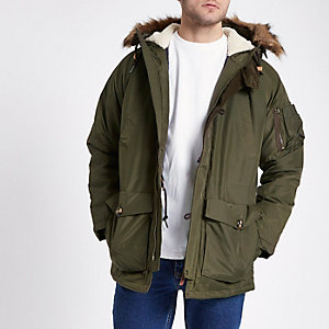 Lee dark green faux fur trim parka jacket