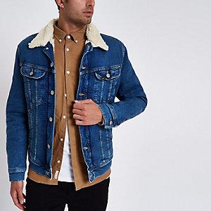 Lee – Veste camionneur en denim bleue avec col imitation peau de mouton