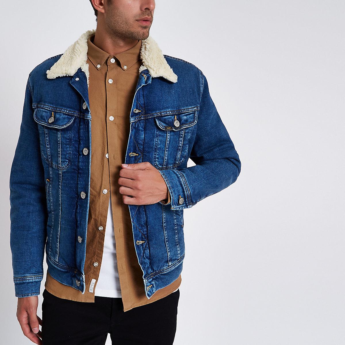 Lee blue faux shearling denim trucker jacket