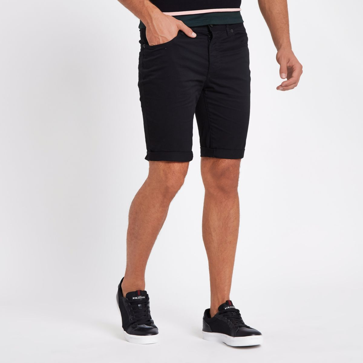 Black skinny fit chino shorts