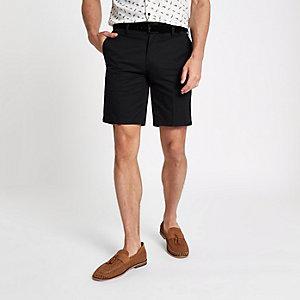 Black slim fit belt detail shorts