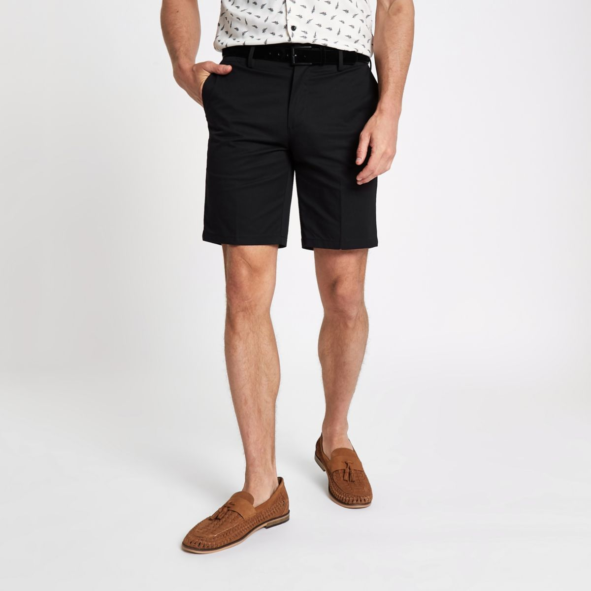 Black slim fit belt detail shorts